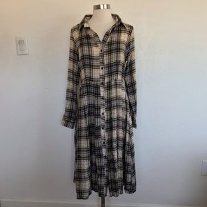 Glamorous Cream Plaid Button Down Midi Dress 6